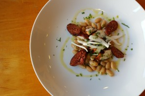 Charred Octopus with White Beans and Goat Chorizo